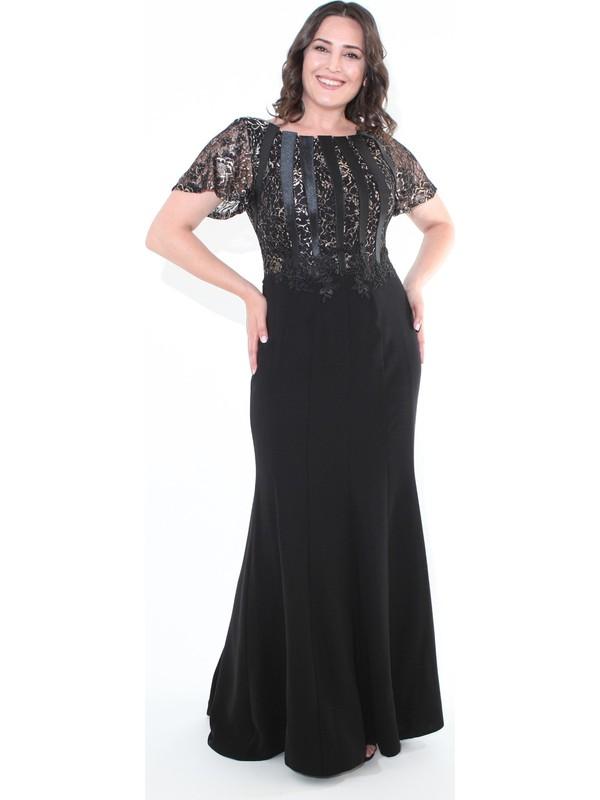 Ladies First Büyük Beden 3290 Siyah Uzun Abiye Elbise