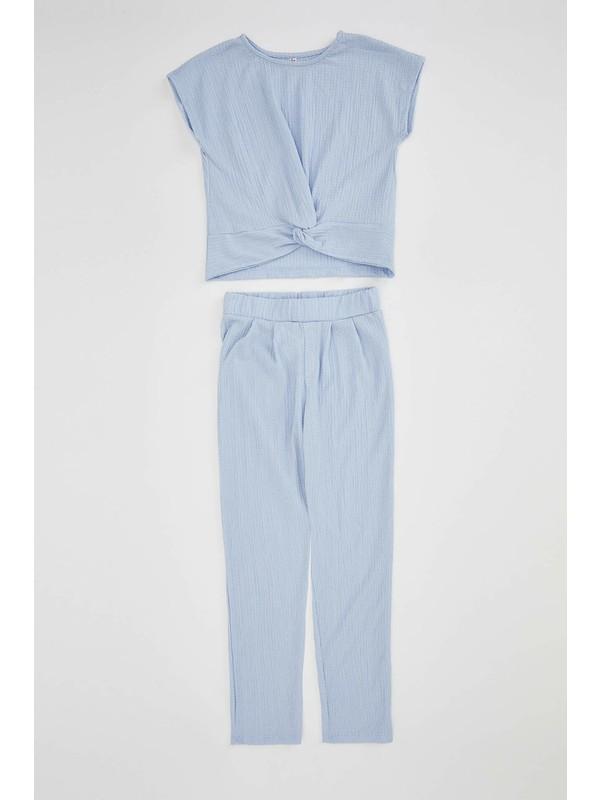 DeFacto Kız Çocuk Basic Tişört Pantolon Dokuma Takım N9429A620SM
