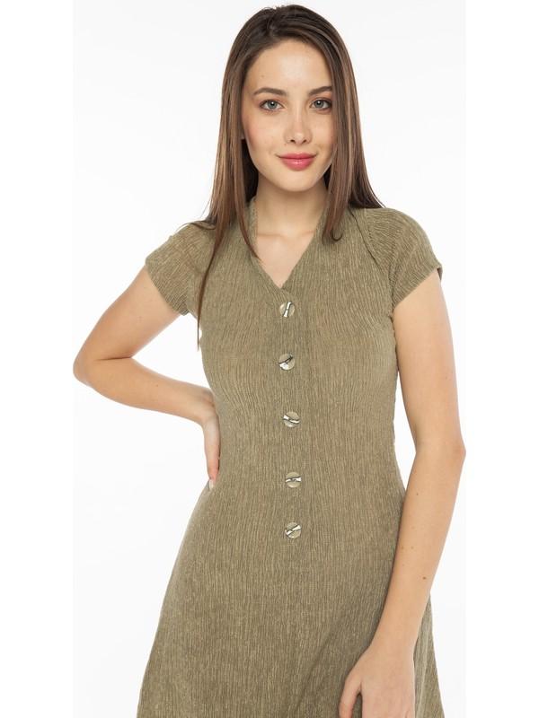Yellowish Önü Düğme Detaylı Çan Etekli Elbise L