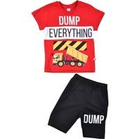 Minigo Dump Everything Baskılı Erkek Çocuk Şortlu Takım Kırmızı 2 Yaş