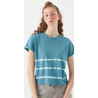 Mavi Kadın Batik Desenli T-Shirt