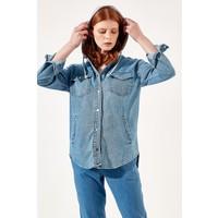 Manche Mavi Kadın Penye Kapüşonlu Kot Ceket Mk20S475292