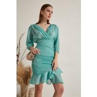 Join Us Uzun Kollu Büzgülü Triko Elbise