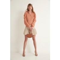 Join Us Transparan Polo V Yaka Omuzları Açık Triko Bluz