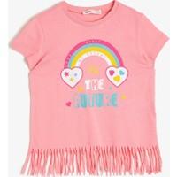 Koton Kız Çocuk Pamuklu Yumusak Simli Yazılı Baskılı Kısa Kollu T-Shirt