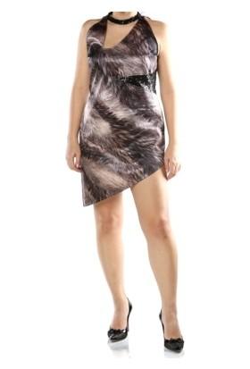 Tantrona Leopar Pullu Eteği Asimetrik Saten Mini Abiye Elbise