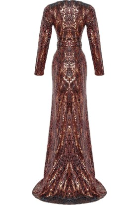 Mileny Kadın Kemer Detaylı Simli Abiye Elbise