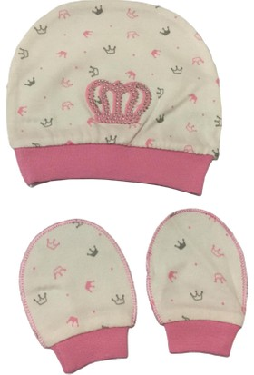 Akyüz Bebe Taçlı Bebek Şapka Eldiven Seti