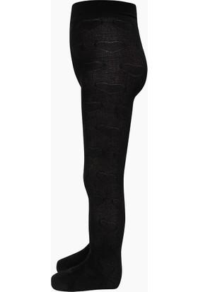 Bross Organik Pamuk Kalp Desenli Külotlu Çocuk Çorabı Siyah