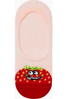 Bross Eğlenceli Meyve Desenli Babet Çocuk Çorabı Pudra