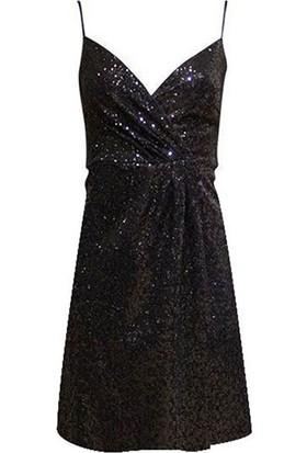 Rivus Spagetti Askılı Payetli Mini Elbise Siyah M