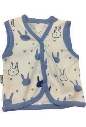Akyüz Bebe Tavşan Erkek Bebek Yelek - Beyaz - 0-3 Ay