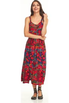 Los Banditos Etnik Roma Desenli Düğmeli Askılı Yazlık Elbise-E77Romadesen