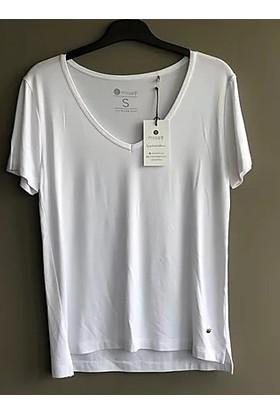 Misey Beyaz Tişört V Yaka