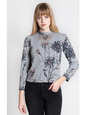 Bexy Flower Gri Çiçekli Uzun Kollu Bluz 160410-1