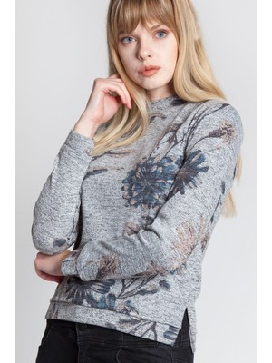 Bexy Flower Gri Çiçekli Uzun Kollu Manşet Detaylı Bluz 160410-1A