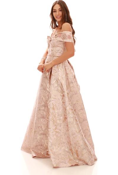 Pierre Cardin Pembe Jakar Yırtmaçlı Prenses Abiye Elbise