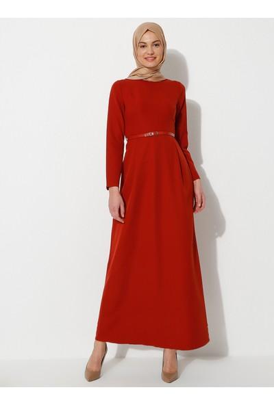 Amine Hüma Kadın Kemer Detaylı Elbise