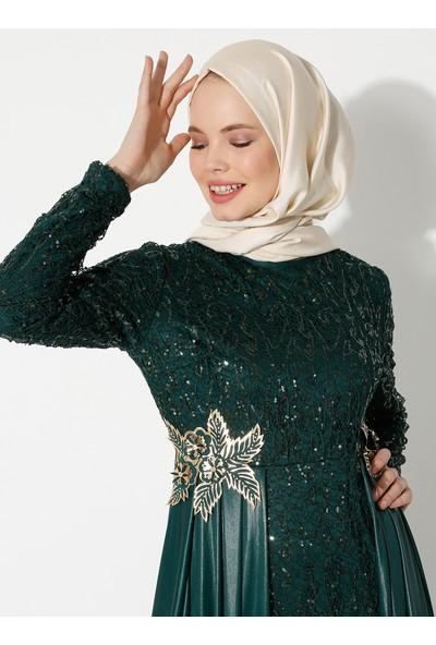 Ayşe Melek Tasarım Kadın Pelerin Aplikeli Abiye Elbise