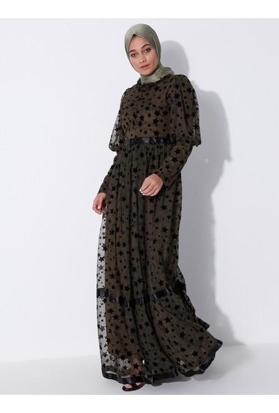 Bürün Kadın Flok Baskılı Yıldızlı Elbise