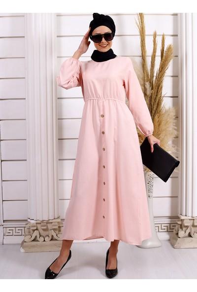 Por La Cara Kadın Beli Lastikli Düğmeli Elbise