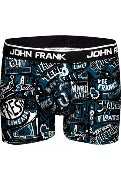 John Frank Baskılı Boxer JFBD298-BLUE