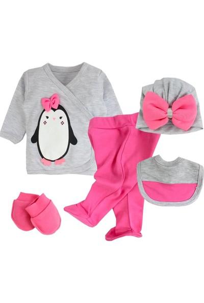 Nonna Penguen Boneli Kız Bebek 5'li Hastane Çıkış Set