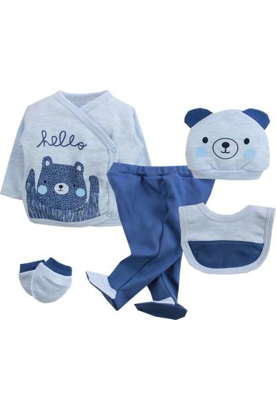 Minizeyn Hello Ayıcık 5'li Erkek Bebek Hastane Çıkış Set