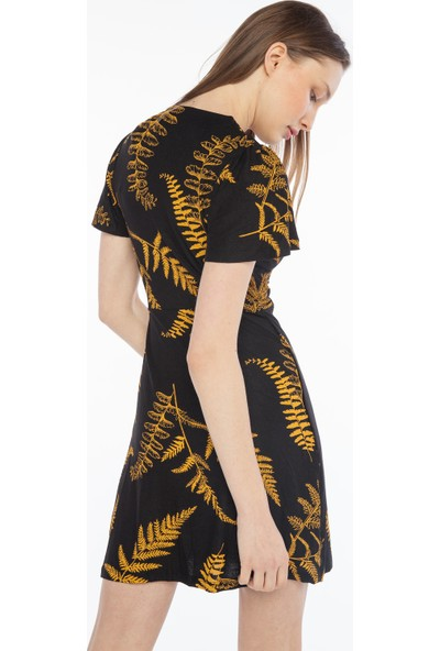 Yellowish Beli Toka Detaylı Kısa Kollu Elbise