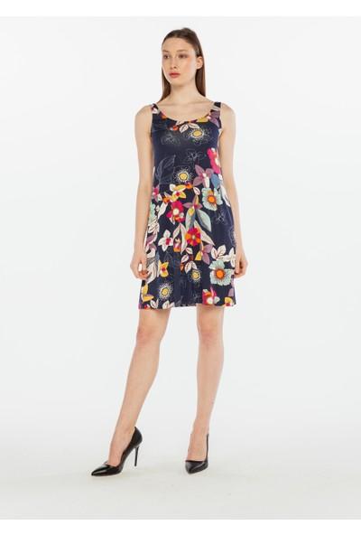 Yellowish Çiçek Desenli Cepli Elbise