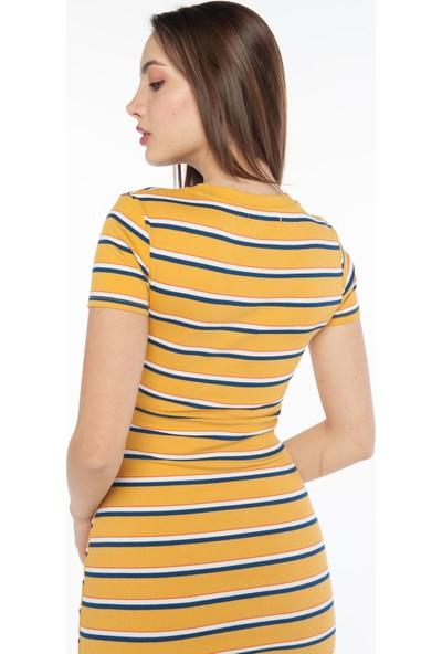 Yellowish Göbek Dekolteli Yazlık Elbise