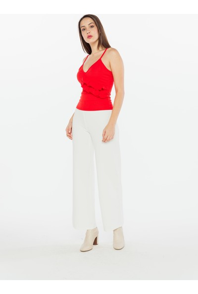 Yellowish Kadın Fırfır Detaylı Askılı Bluz