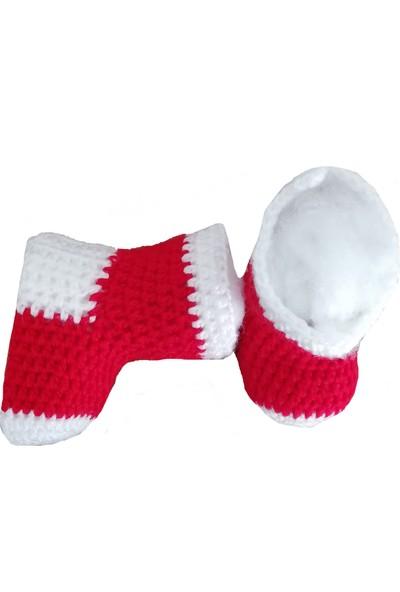 Nuh Home El Yapımı Kadın Çorap Beyaz-Kırmızı Renk Çorap