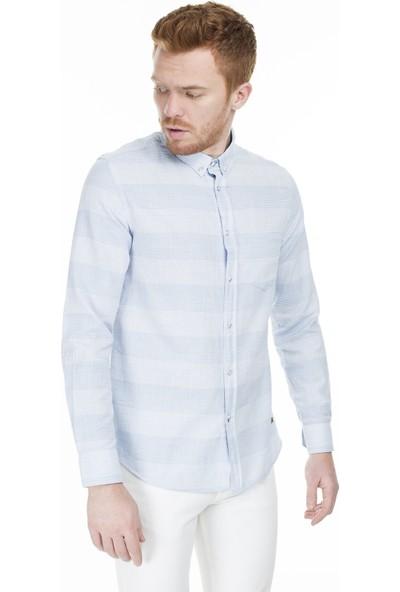 Lee Cooper Erkek Çizgili Düğmeli Yaka Gömlek 202 Lcm 241001 5139 XL