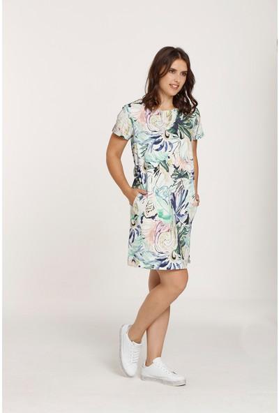 Top Secret Büyük Beden Desenli Elbise