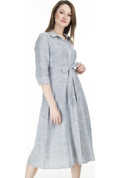 Ekol Çizgili Midi Elbise Kadın Elbise 0236046