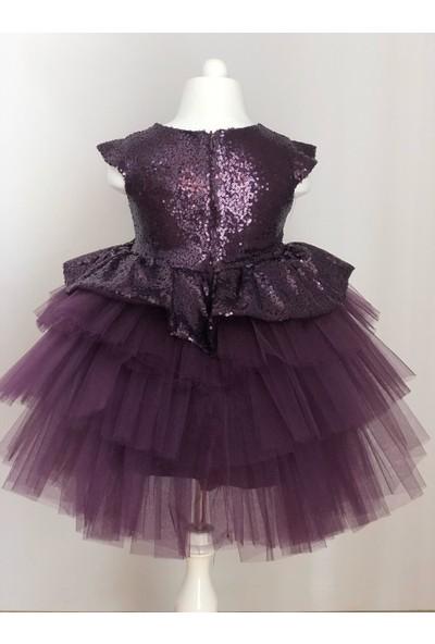 Mixie Baby Pul Payetli Tütü Etekli Mürdüm Kız Çocuk Elbisesi