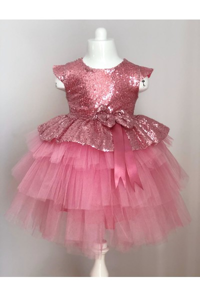 Mixie Baby Pul Payetli Tütü Etekli Pembe Kız Çocuk Elbisesi