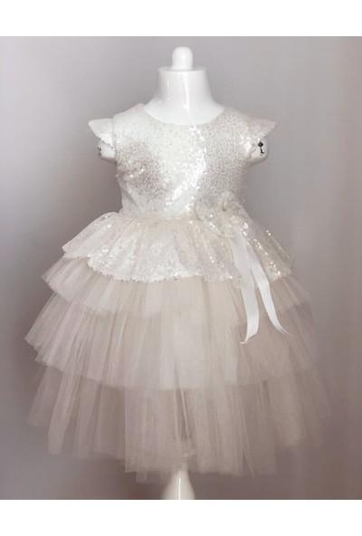 Mixie Baby Pul Payetli Tütü Etekli Beyaz Kız Çocuk Elbisesi