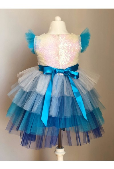 Pumpido Elsa Pul Payet Tütü Etekli Kız Çocuk Parti Elbisesi