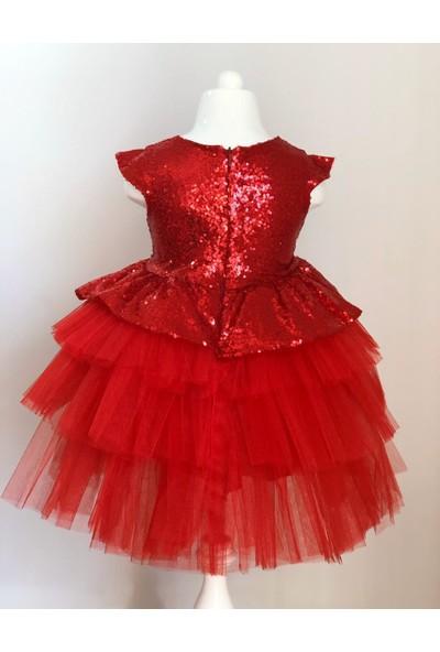 Mixie Baby Pul Payetli Tütü Etekli Kırmızı Kız Çocuk Elbisesi