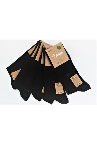 Star Socks Dikişsiz Bambu 4 Mevsim Desenli Çorap 6 Çift Siyah 41-45