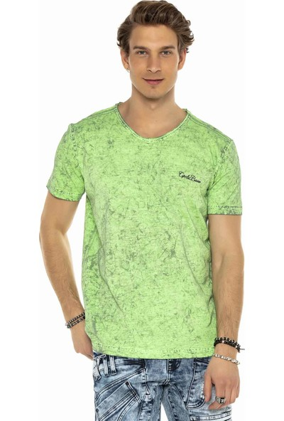 Cipo&Baxx CT550 V Yaka Neon Yeşil Fosforlu Rahat Erkek Tshirt