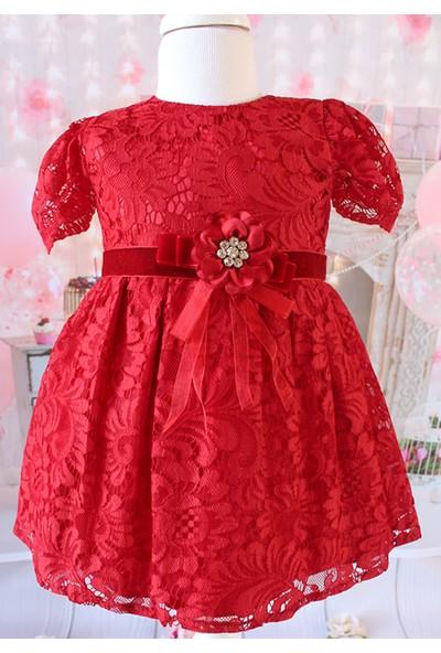 Lilipoupee Kırmızı Renk Dantelli Şakayık Güllü Zarif Elbise