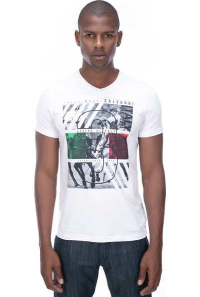 Galvanni Erkek Beyaz T-Shirt - Mar