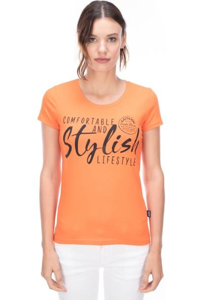 Galvanni Kadın Turuncu T-Shirt - Rayon