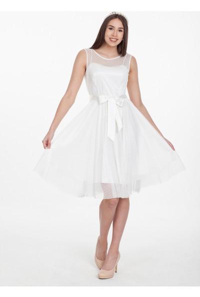 Reaction Exclusive Puantiyeli Kuşaklı Tül Beyaz Elbise 4150