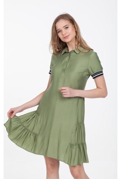 Reaction Exclusive Önü Düğme Detaylı Kolları Şeritli Haki Elbise 4126