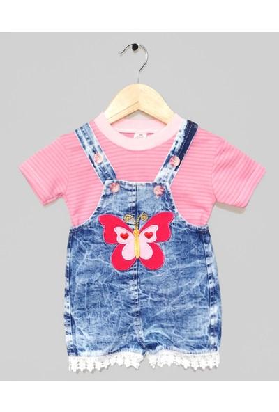 Gnr Baby Kelebek ve Dantel Ayrıntılı 2'li Kız Bebek Kısa Kot Salopet Takım