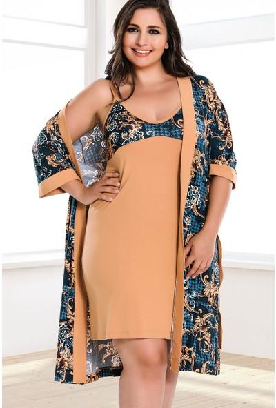 Lady Lingerie Çiçekli V Yaka İnce Askılı Kadın 4lü Pijama Set 18160